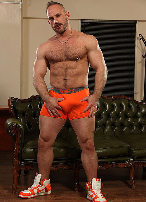 Hairy muscly hung bear